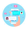 online chatting using smartphone flat style vector image