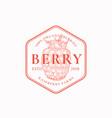 raspberry farm badge or logo template hand drawn vector image vector image