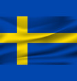 realistic waving flag sweden fabric vector image vector image