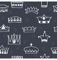 Seamless pattern with hand drawn crowns on dark vector image vector image