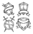 set isolated medieval shields with ribbons vector image vector image