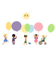 set of happy children playing with balloons vector image vector image