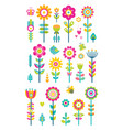 set of springtime flowers bees butterflies birds vector image