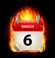 sixth march in calendar burning icon on black vector image vector image
