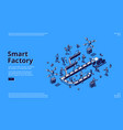 smart factory isometric landing page conveyor belt vector image vector image