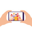 smartphone screen and people taking selfie flat vector image vector image