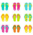 Summer flip flops set isolated on white vector image vector image
