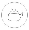 teapot icon black color in circle isolated vector image vector image