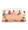 whole family eating mexican food at home relaties vector image vector image