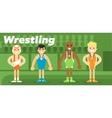 wrestling team in awarding vector image