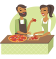 Young couple preparing pizza vector image