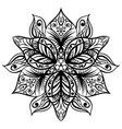 zentangle style black flower sketch vector image vector image