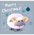 Greeting Card with sheep Text Merry Christmas and vector image