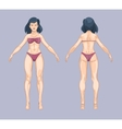 Woman or female body in cartoon style Front and vector image