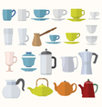 flat style dinnerware cups mugs and pots set vector image