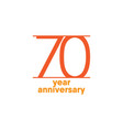 70 year anniversary template design vector image vector image