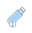 alert disk drive flash storage usb icon vector image