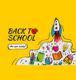 back to school banner poster with doodles vector image vector image