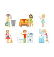 boys and girls doing different doing housework set vector image vector image