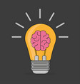 brain idea in flat style stylish on a black vector image vector image