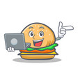 burger character fast food with laptop vector image vector image