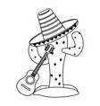 cactus and mexican hat with guitar in black and vector image