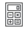 calculator line icon office and work vector image vector image
