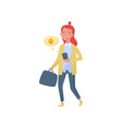 cheerful teenager girl walking with smartphone and vector image