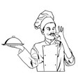 chef gesture delicious and holding a cloche platte vector image vector image