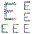 Colorful ellipse fractal font - letter E vector image vector image