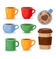 colorful tea cups coffee mug vector image