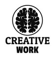 creative brain work logo simple style vector image