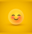 cute smile yellow emoticon face in 3d background vector image vector image