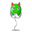 devil green ballon with cartoon ribbons beautiful