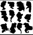 disney princess silhouettes set vector image