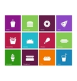 Fast food icons on color background vector image vector image