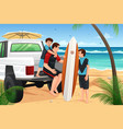 father son on beach vacation vector image vector image