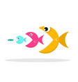 fish eat fish isolated on white background vector image vector image