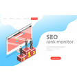 flat isometric landing page template of seo vector image vector image
