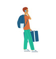 flat man tourist with travel bag suitcase vector image vector image