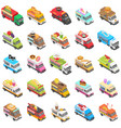 food truck transport icons set isometric style vector image