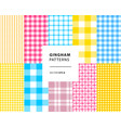 gingham seamless patterns set vector image