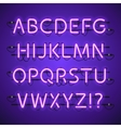 Glowing Neon Violet Alphabet vector image
