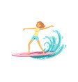happy surf girl with surfboard riding a wave vector image vector image