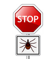 Ixodes ricinus tick road stop sign vector image vector image
