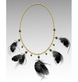 jewelry with black feathers vector image vector image