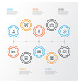 journey outline icons set collection of ship vector image vector image