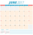 June 2017 Calendar Planner for 2017 Year Week vector image vector image