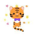 kawaii cute striped tiger character vector image vector image