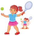 little girl playing tennis vector image